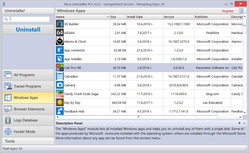 main screen of Windows Apps